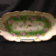AK Klingenberg Limoges studio painted purple flowers gold beaded relish celery tray 13""