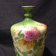 "Royal Bonn 7"" rose vase in green with pink and yellow roses unique shape 1890's"
