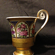 KPM Berlin scepter mark cathedral 6 panel cup with flowers heavy gold gilt 1820