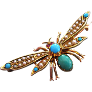Magnificent Antique BUTTERFLY Brooch 15ct Gold TURQUOISE Seed Pearls RUBY Victorian