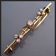 Victorian Old Mine Cut DIAMOND Shamrock 14K Gold Antique Brooch Pin