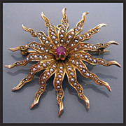 Antique 14K Gold RUBY Seed Pearl Starburst Pendant Brooch Victorian