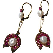Art Deco 18K Gold Cultured Pearl Ruby Lab Dangling Earrings