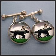Vintage Essex Rock Crystal Dogs Reverse Painting Sterling Silver Cuff Links