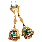 Art Deco Emerald 18K Gold Pendant Drop Dangling Earrings