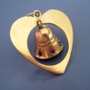 Vintage Tiffany & Co Sapphire Ruby 14K Gold Heart Bell Charm Pendant