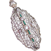 Art Deco Platinum Diamond Emerald Colored Stones 14K Gold Pendant Pin