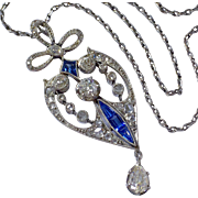Antique Edwardian Platinum Diamond Sapphire Lavaliere Necklace