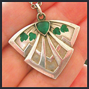 Antique Art Nouveau Depose Enamel Chrysophase Silver Pendant Necklace