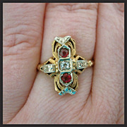 Antique Art Nouveau Diamond Ruby 18k Gold Ring