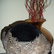 SALE French Black Velvet Guinea Feather Ladies' Hat