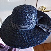 SOLD Ladies'  1960's Straw Picture Hat