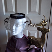 Vintage Ladies Brown Birdcage Hat