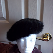 Ladies Vintage Genuine Mink Pillbox Hat
