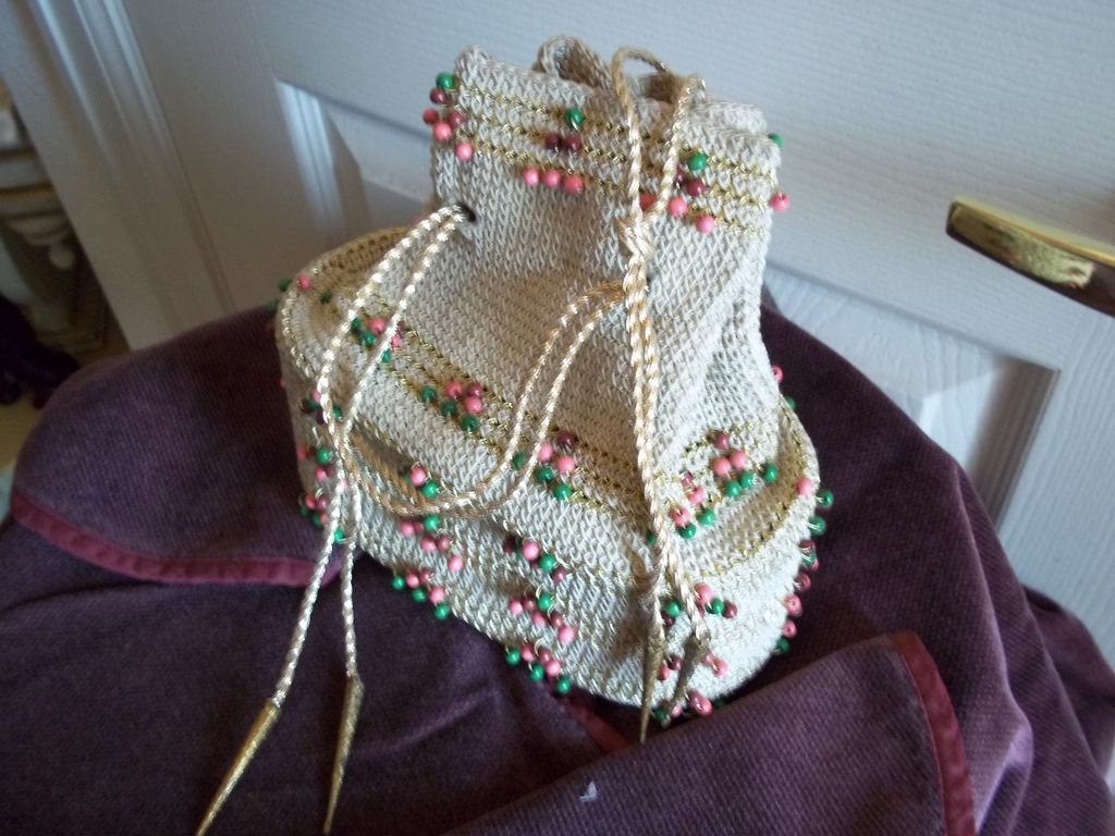 1940's Beaded Crochet String Draw Purse