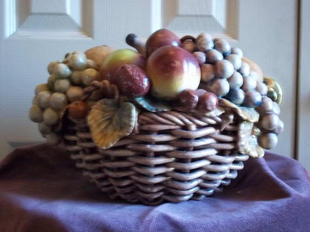 Vintage Portuguese Ceramic Fruit Basket