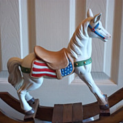 Large  Porcelain Vintage Rocking Horse w/ Wood Base
