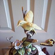 SALE PENDING Porcelain / Bisque Large Yellow Bird Figurine