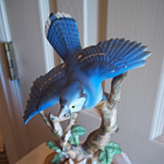 Porcelain Blue Jay Bird Figurine
