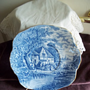 HM Sutherland English Blue Rural Scene Bone China Plate