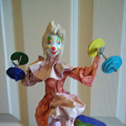 """The Weightlifter"" Handcrafted Clown Sculpture"