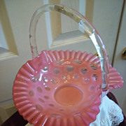 Fenton Cranberry Coin Dot Glass w/ Ruffled Edge Basket