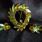 Amber and Yellow Rhinestone Leaf Pin and Earring Set