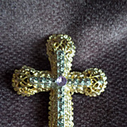 Gold-Tone Filigree Cross with Rhinestones