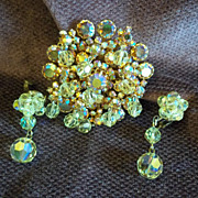 Gold Tone Aurora Borealis Crystal Brooch/Pin and Earrings Set