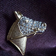 Gold Tone and Rhinestone Horse Head Pin / Brooch