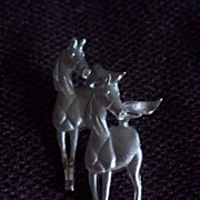 Galloping Horses Silver Tone Pin