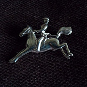 Equestrian on Horseback Silvertone Pin / Brooch
