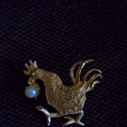 Gold Tone and Faux Pearl Rooster Pin