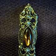 Amber Gold Tone Pin / Brooch