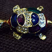 Amazingly Cute Gold Tone Turtle Pin