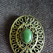 Gold Tone Filigre Jade Pin