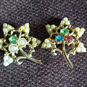 Matching  Gold Tone Leaves Faux Pearl and Multi-Color Crystal Pins