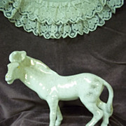 SOLD White and Gold Porcelain Horse