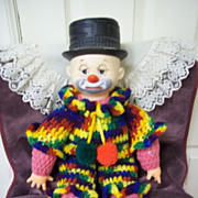 Vintage Hobo Clown Doll w/ Hand Knit Body