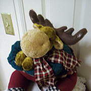 Vintage Hand Made Stuffed Christmas Moose