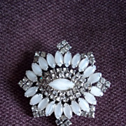 Milk Glass and Rhinestone Pin