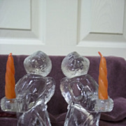 Pair of 2 Vintage Glass Angel Miniature Candle Holders