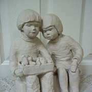 Austin Proding Original 'Bright Eyes' Girl And Boy With Puppies Sculpture