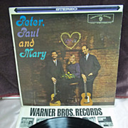 Peter, Paul and Mary Debut Album, Warner Brothers High Fidelity LP Vintage Vinyl, 1962
