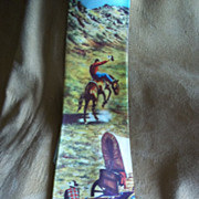 Golden West Chuck Wagon and Bronc Rider Western Photo Tie
