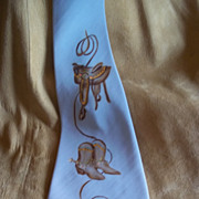 """Boots and Saddle"" Grey Handpainted Western Silk Tie"