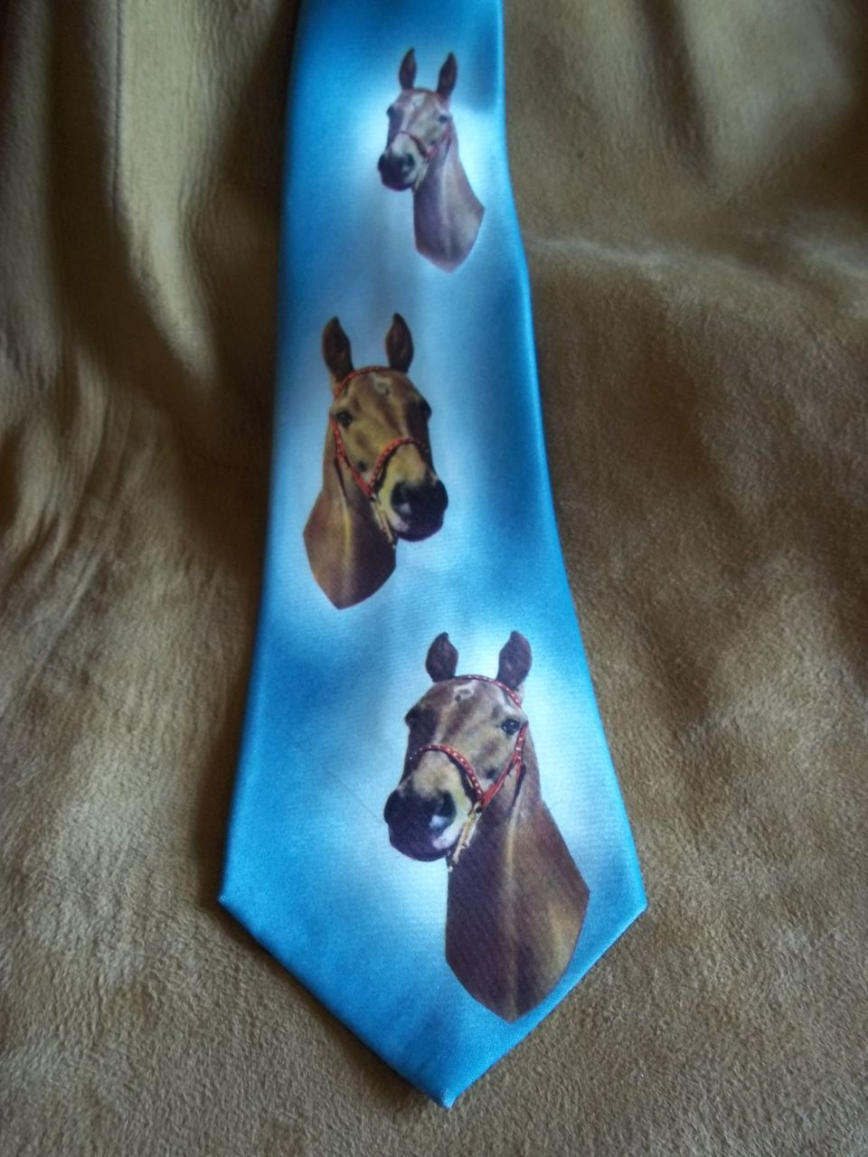 &quot;Thoroughbreds&quot; Vintage Blue Silk Photo Tie