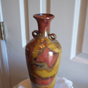 Lemax Rust, Brown and Mustard Swirl Pattern Vase