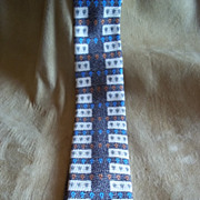 Brown, Tan, and Blue Geometric Pattern Silk Tie