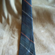 Vintage Black, Orange, and Tan Skinny Tie